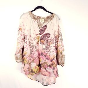 Fig and Flower Anthropologie Blouse Medium Paisley